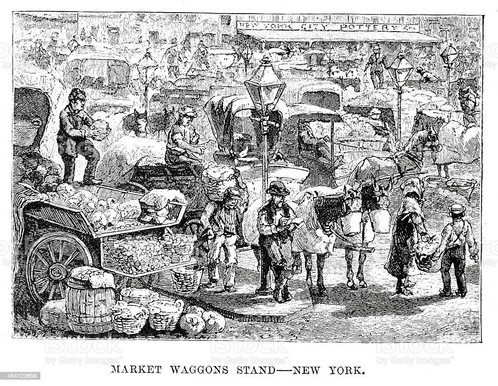 Market waggons stand, New York vector art illustration