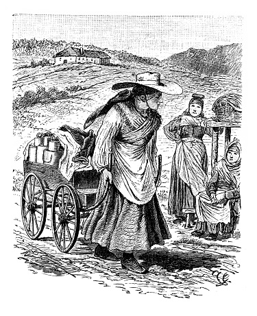 Illustration of a Market woman with milk