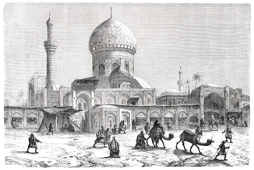 Marketplace with Grand Mosque Ahmet-Khiaia in Baghdad 1861