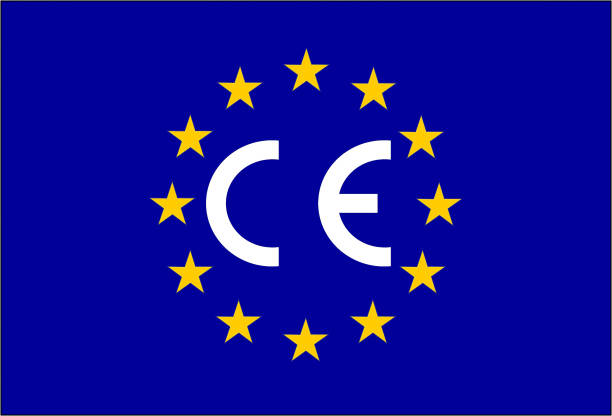 CE-Kennzeichnung Kennzeichnung auf eine europäische Flagge – Vektorgrafik