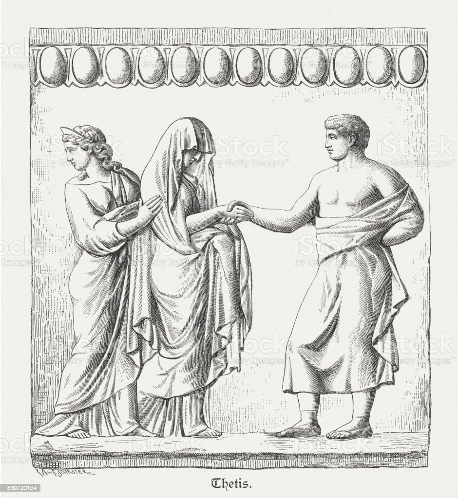 Marriage of Peleus and Thetis, ancient terracotta relief, published 1879 vector art illustration