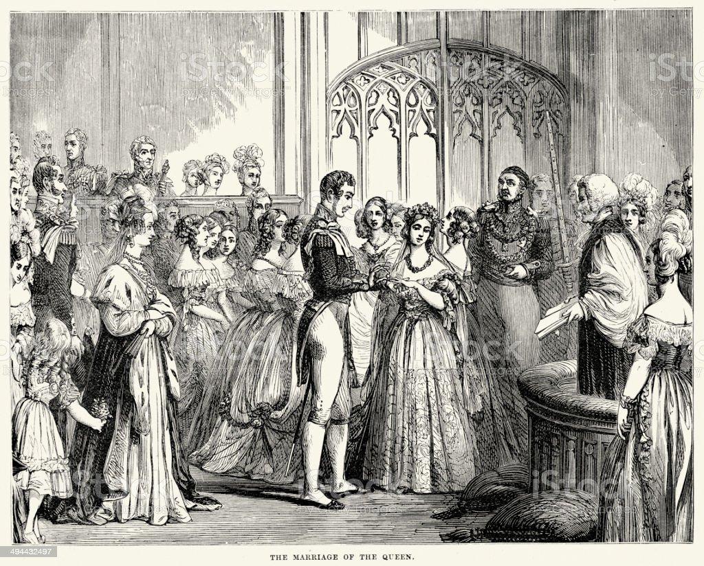 Marriage of Queen Victoria royalty-free stock vector art
