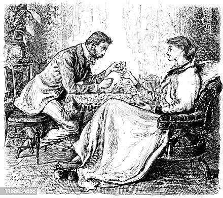 Well dressed husband and wife having tea in their home in New York City, New York, USA. Vintage etching circa late 19th century.
