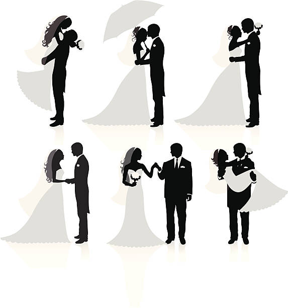 Married couples. Set of vector silhouettes of a groom and a bride. bridegroom stock illustrations