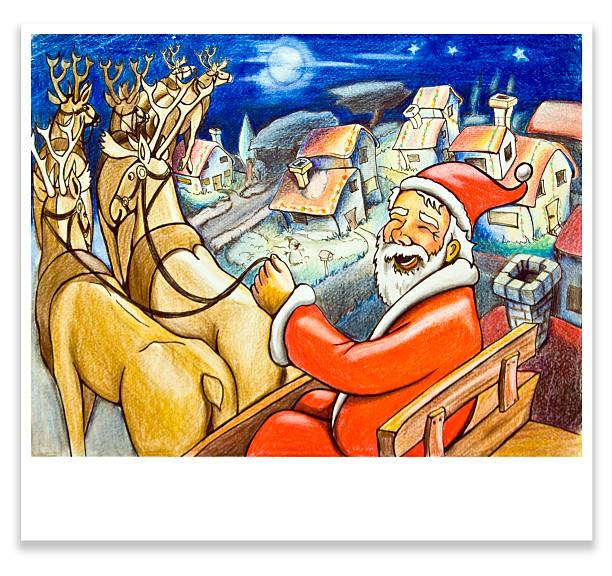marry christmas from santa vector art illustration