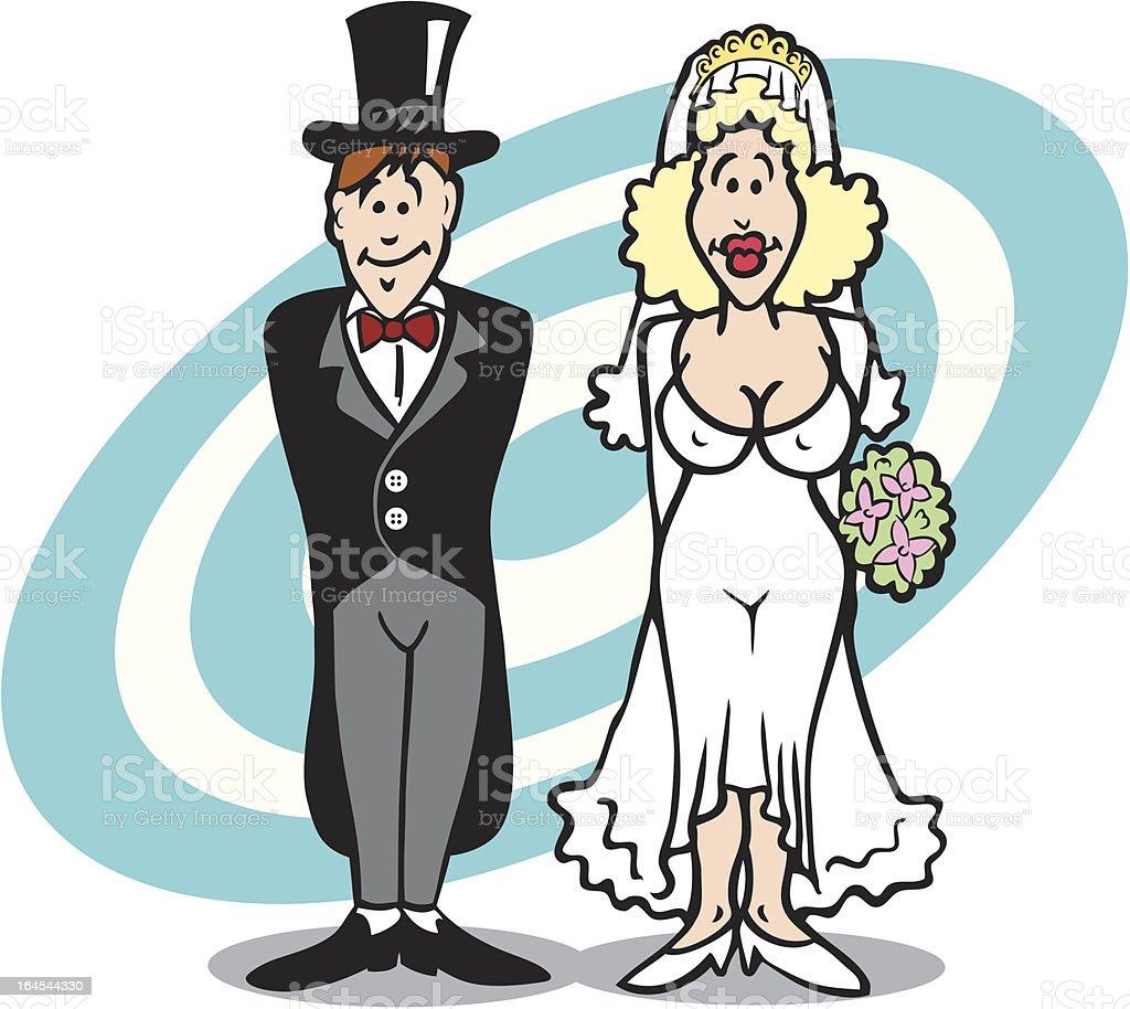 Hochzeit Verheiratet Paar Mit Sexy Braut Comic Stock Vektor Art Und