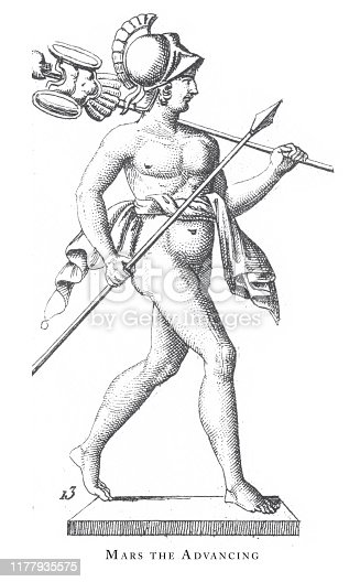 istock Mars the Advancing, Religious Rites and figures of Ancient Greece and Rome Engraving Antique Illustration, Published 1851 1177935575