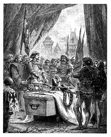 Marshal De Sancerre laid the keys of Chateauneuf-Randon on Du Guesclin's bier.
