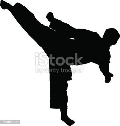 A vector illustration of a Taekwondo 3rd degree black belt performing a sidekick
