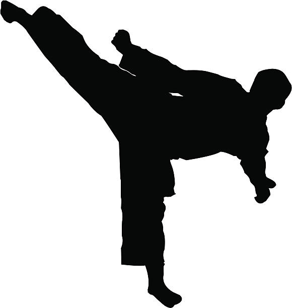 martial arts sidekick - martial arts stock illustrations