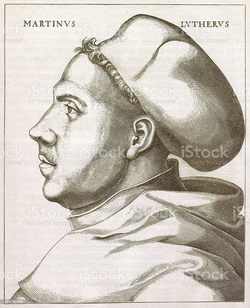 Martin Luther, 1521 - woodcut by Lucas Cranach, published 1879 royalty-free stock vector art