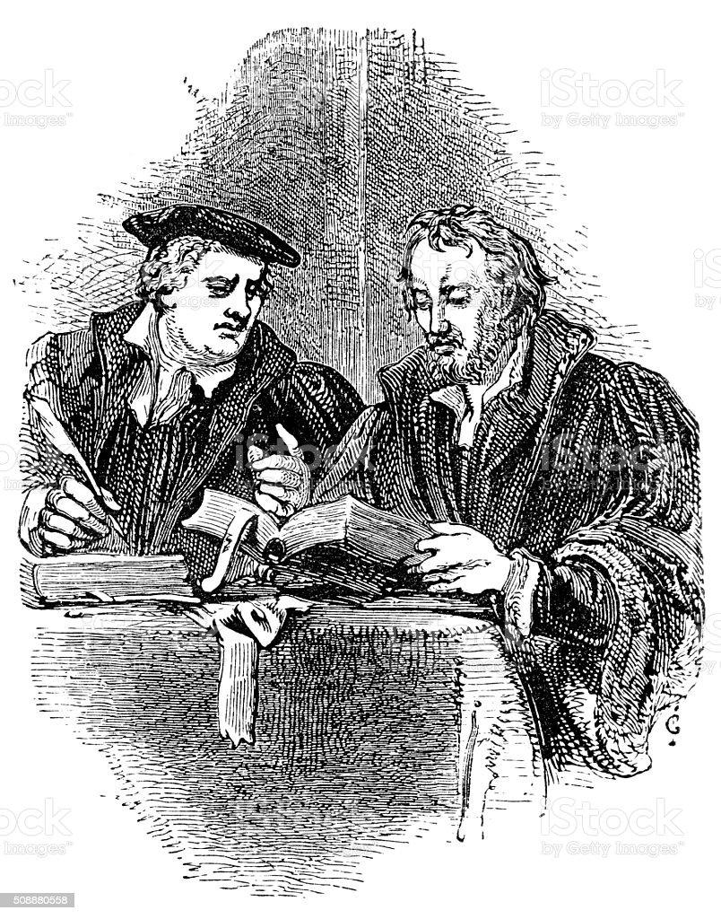 Martin Luther and Philip Melancthon vector art illustration
