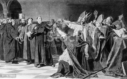 Engraving from 1894 showing Martin Luther at the Diet of Worms in 1521.