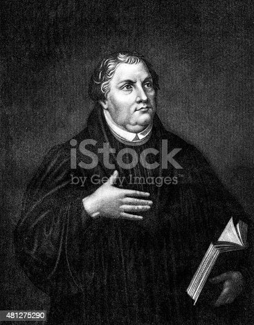 Engraving from 1872 featuring Martin Luther the Christian theologian.