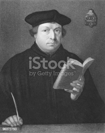 Martin Luther on engraving from the 1850s. Priest and theology professor. Leader of the great religious revolt of the 16th century in Germany. Engraved by C.E. Wagstaff and published in London by Charles Knight, Pall Mall East.
