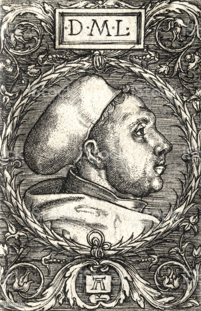 Martin Luther portrait, side view, 1525, by Albrecht Altdorfer - Illustrazione stock royalty-free di 2019