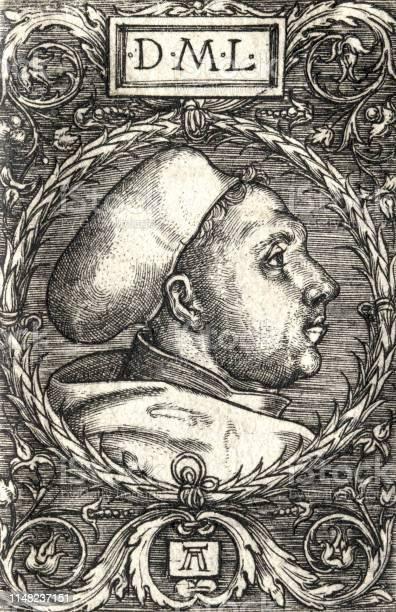 Martin Luther Portrait Side View 1525 By Albrecht Altdorfer - Immagini vettoriali stock e altre immagini di 2019