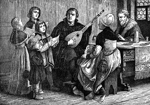 Martin Luther Singing Psalms with His Family - 16th Century