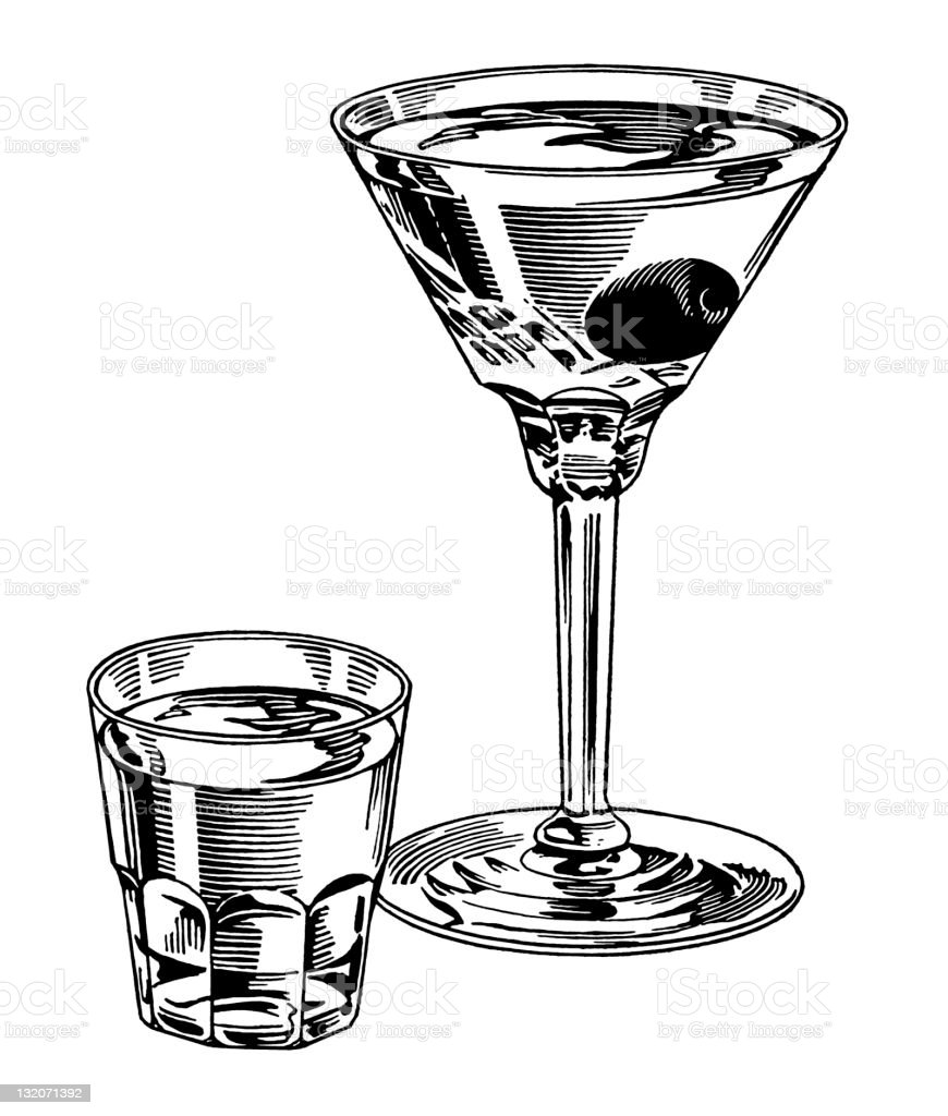 Martini and Shot royalty-free stock vector art
