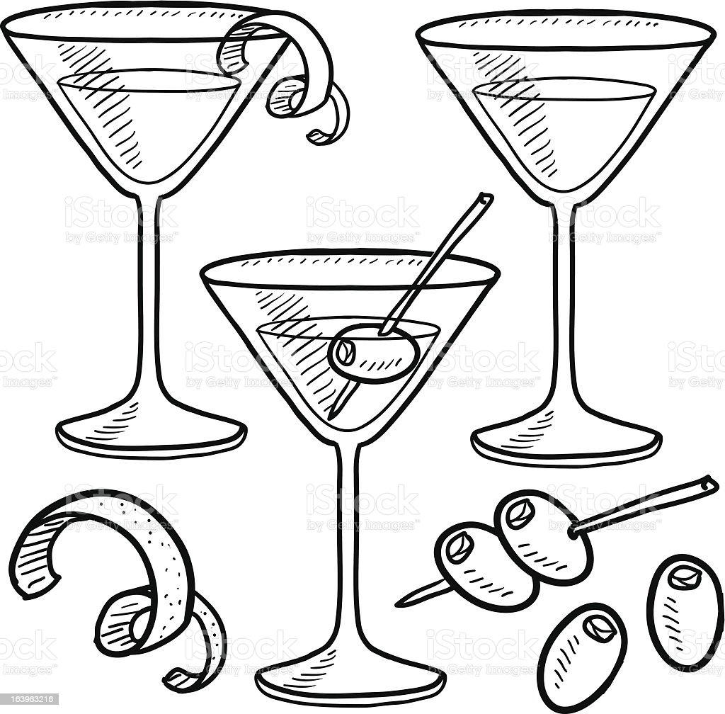 Martinicocktail Skizze Stock Vektor Art und mehr Bilder von ...