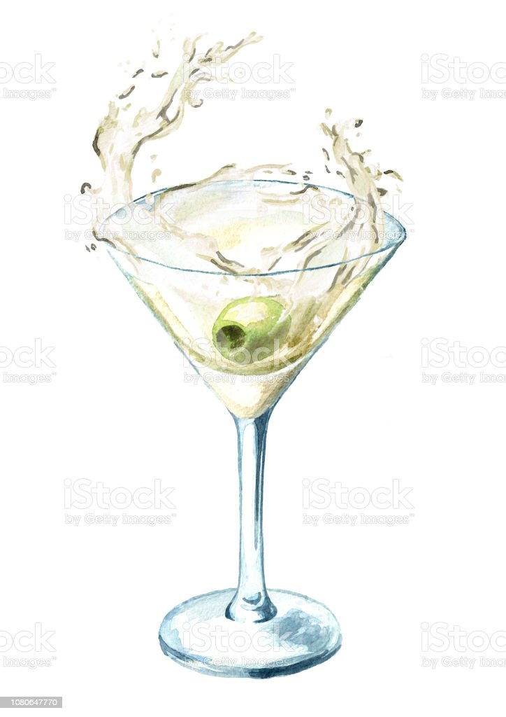 Martini Glass With Olive And Splash Watercolor Hand Drawn