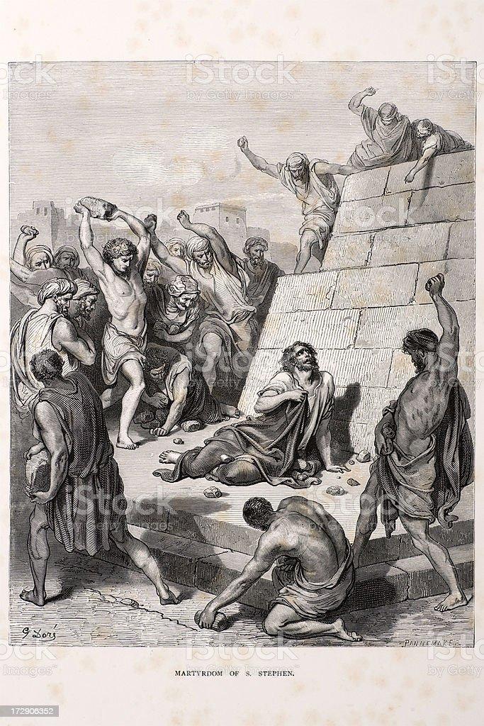 Martyrdom of Saint Stephen royalty-free stock vector art
