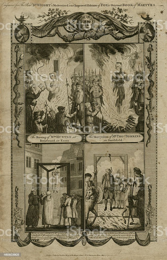 Martyrs at Brentwood, Smithfield, Kent and a cat in Cheapside royalty-free stock vector art