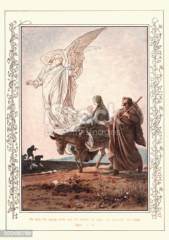 Victoria illustration from the Story of the Holy Child, by Paul Mohn. He took the young child and his mother by night and departed into Egypt. 1890