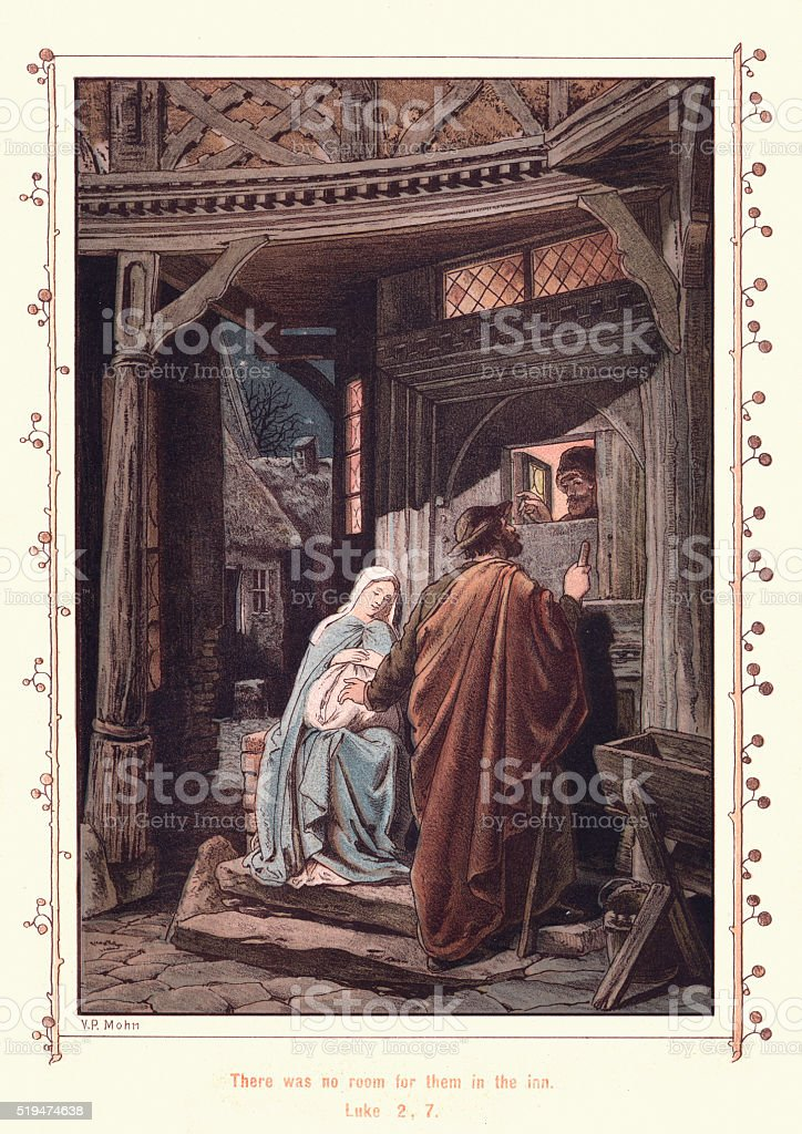Mary and Joseph at the Inn vector art illustration