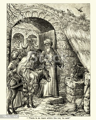 Vintage engraving of Mary and Joseph, There is  no room within the Inn, Victorian, 19th Century