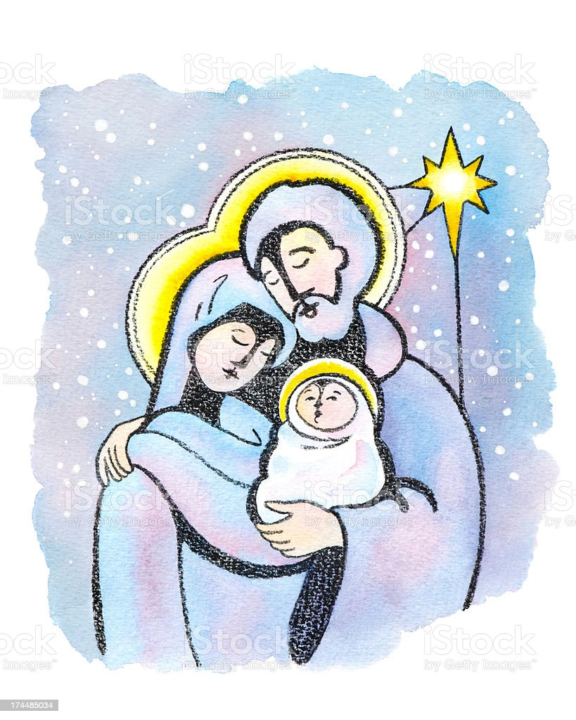 Mary and Joseph with Baby Jesus royalty-free stock vector art