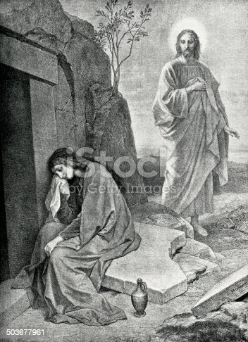 Engraving from 1892 showing Mary at the tomb of Jesus.