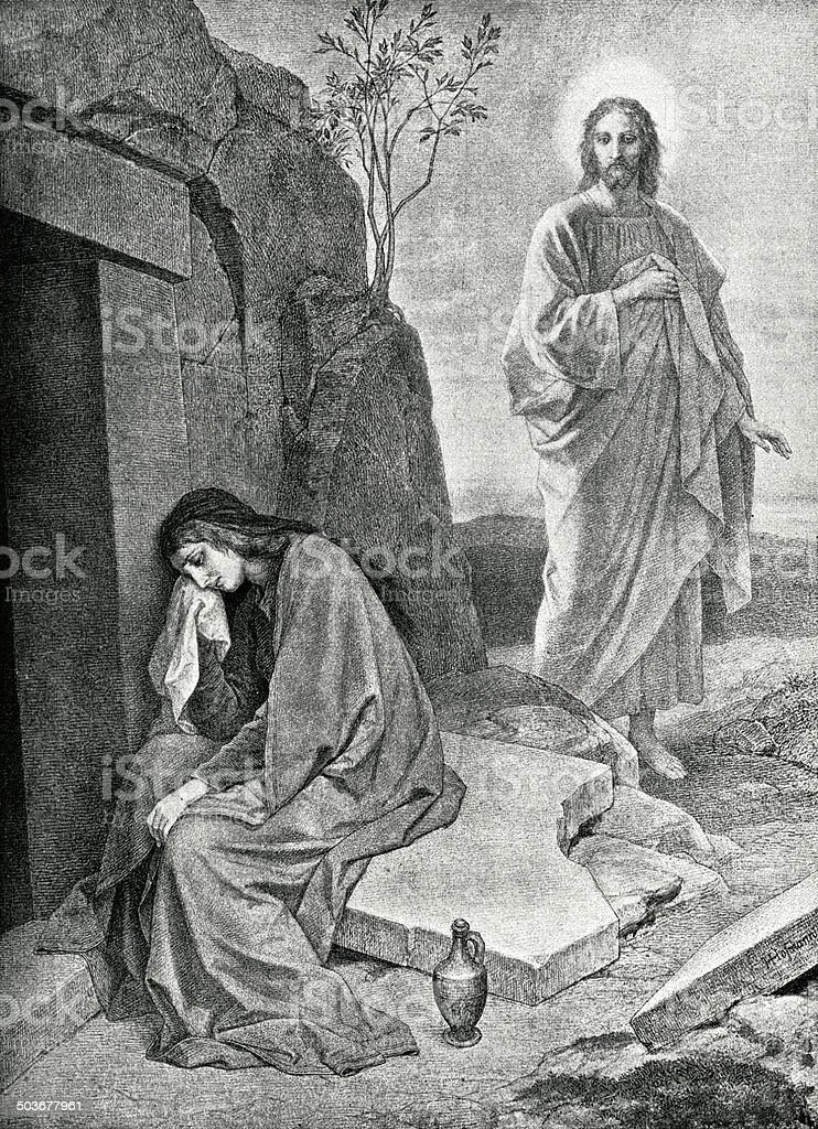 Mary At The Tomb Of Jesus vector art illustration