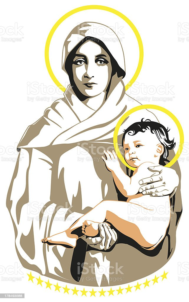 Mary end Jesus vector art illustration