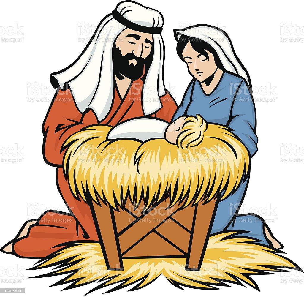 mary joseph and baby jesus stock vector art more images of cartoon rh istockphoto com