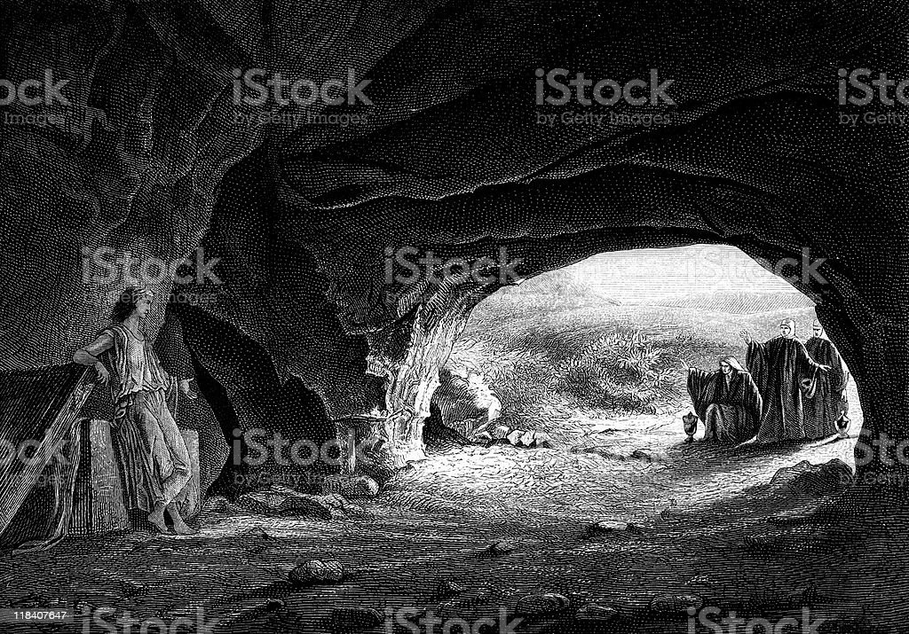 Mary Magdalene Finds Tomb of Jesus Christ Empty vector art illustration