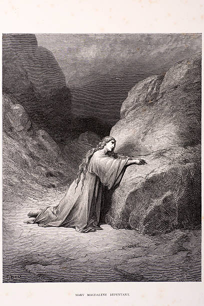 "Mary Magdalene repentant ""Mary Magdalene repentant, a scene from the bible. Engraving from 1870. Engraving by Gustave Dore, Photo by D Walker."" seven deadly sins stock illustrations"