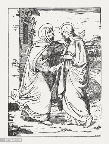 Mary visits Elizabeth (Luke 1, 39 - 45). Wood engraving after a drawing (1835) by Friedrich Giessmann (German painter, 1810 - 1847), published in 1850.