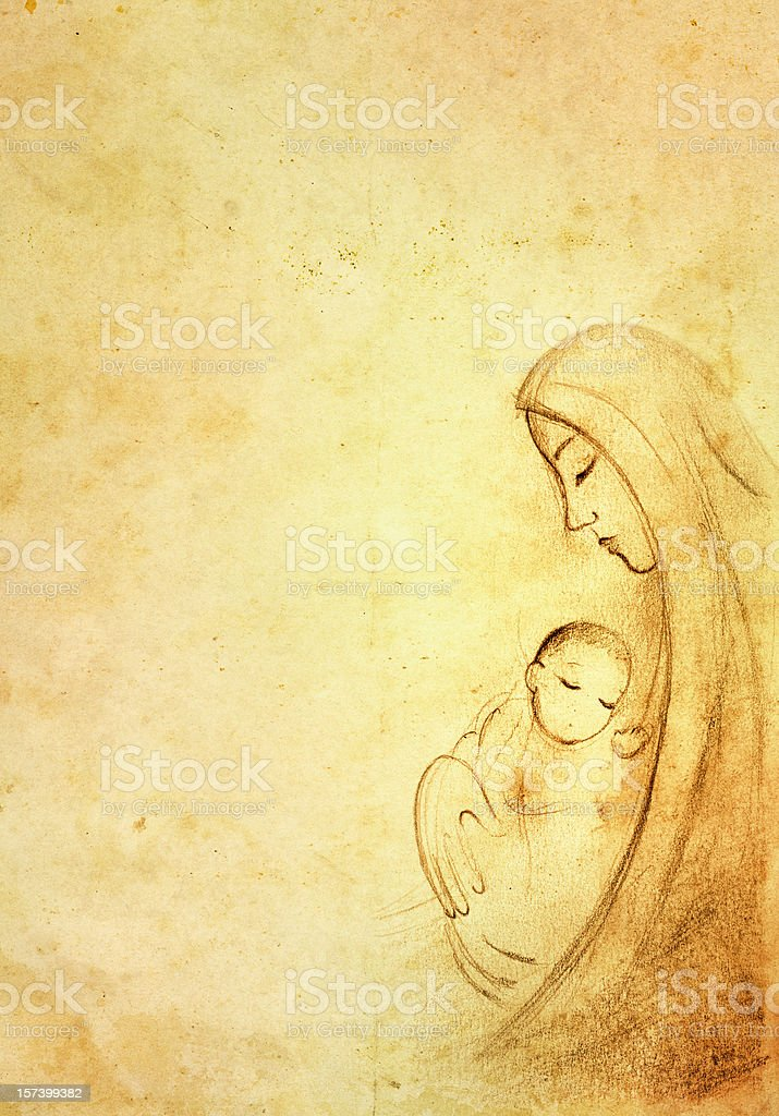 Mary with the Child Jesus royalty-free stock vector art