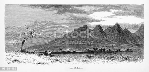 Very Rare, Beautifully Illustrated Antique Engraving of Marysville Buttes, Northern California, United States, American Victorian Engraving, 1872. Source: Original edition from my own archives. Copyright has expired on this artwork. Digitally restored.