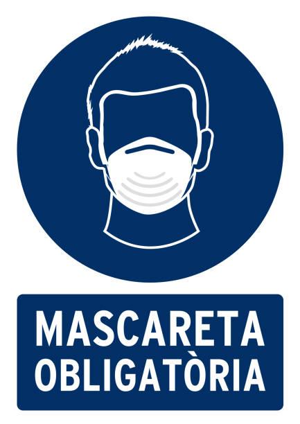 obligatorische maske poster - ffp2 maske stock-grafiken, -clipart, -cartoons und -symbole