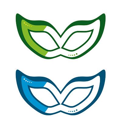 Mask icons set, colored incognito symbols