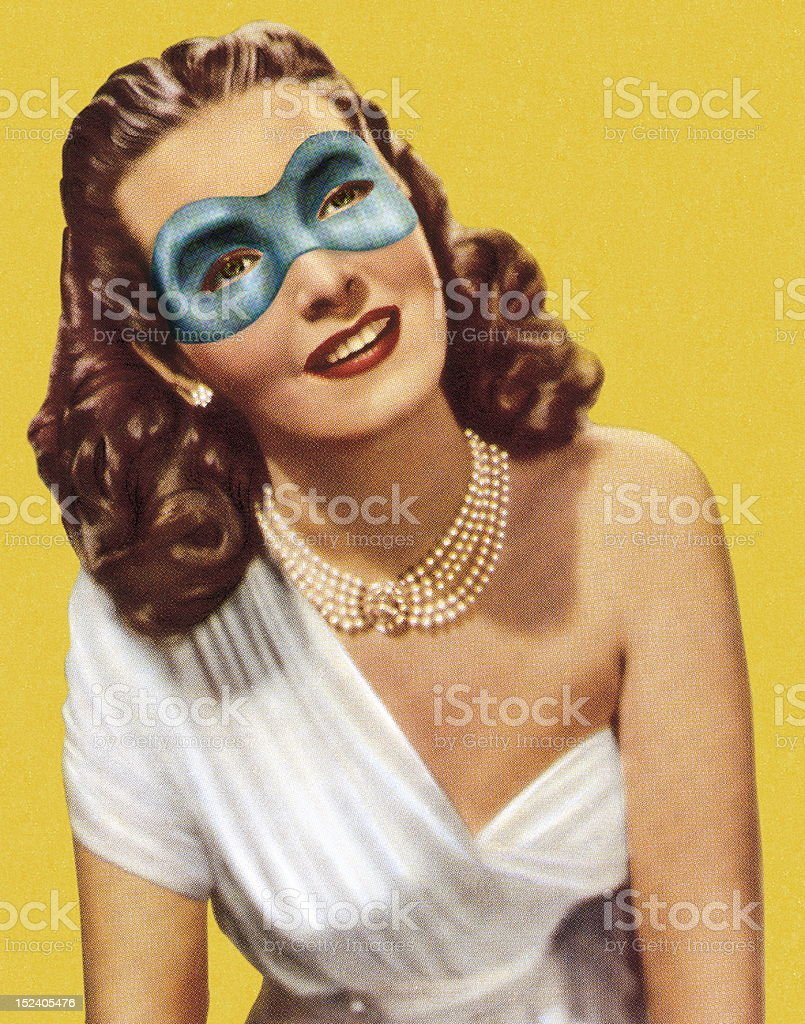 Masked Woman in White Dress royalty-free stock vector art