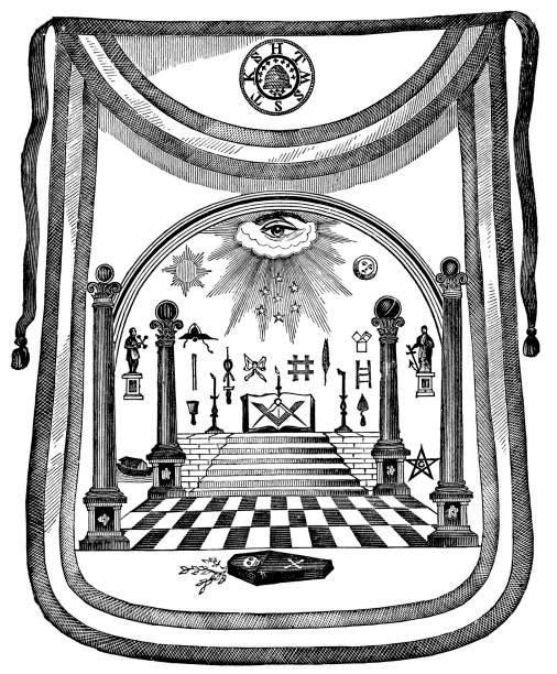 масонская передник гравировка с 1870 (freemason) - lodge member stock illustrations