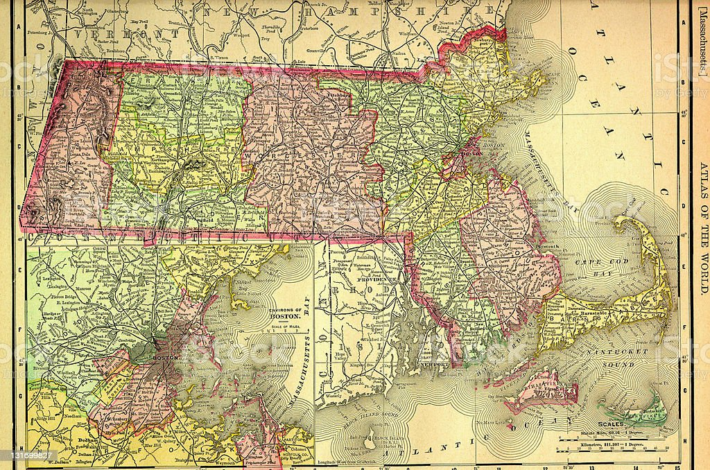 Massachusetts Old Map vector art illustration