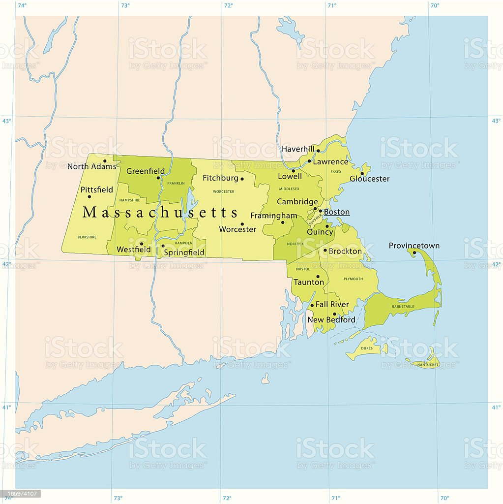 Massachusetts Vector Map royalty-free stock vector art