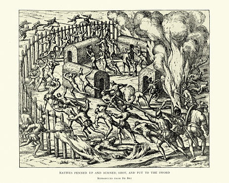 Vintage engraving of Massacre of natives during spanish conquest of the americas. Natives penned up and burned, shot, and put to the sword.  After Theodor de Bry, 16th Century