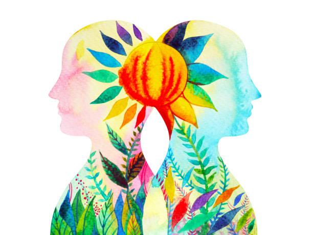 ilustraciones, imágenes clip art, dibujos animados e iconos de stock de autor intelectual, poder de chakra, pensamiento conjunto de abstracto floral flor, mundo, universo dentro de tu mente, pintura de acuarela - esperanza