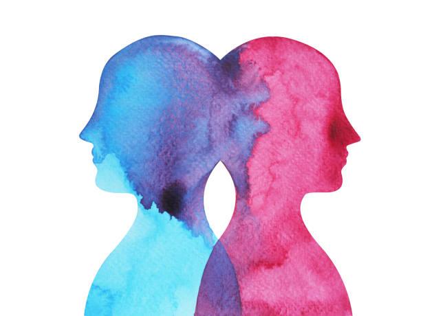ilustrações, clipart, desenhos animados e ícones de mentor, poder chacra, resumo de inspiração que juntos, mundo dentro da sua mente, respingo de pintura aquarela - profissional de saúde mental