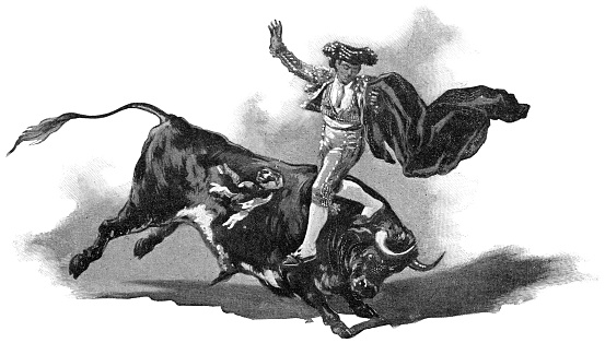 Matador Leaping Over a Bull at Bullfight in Madrid, Spain - 19th Century
